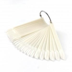 Типсы  овал, белые, миндаль, на кольце 50 шт, для дизайна, палитра, для лаков, гель лаков