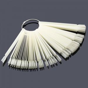 Типсы белые, 50 шт на кольце, веер, 10 см