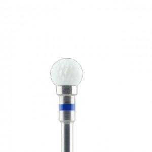 насадка керамическая для аппаратного маникюра и педикюра, форма Шарик, шарик 6 мм, синяя