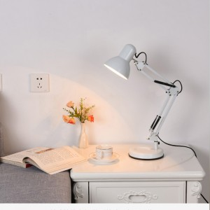 Table lamp on a stand, adjustable, height, swivel, white, desk lamp, DL-600