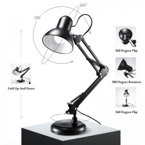 Table lamp on a stand, adjustable, height, swivel, black, desk lamp, DL-600
