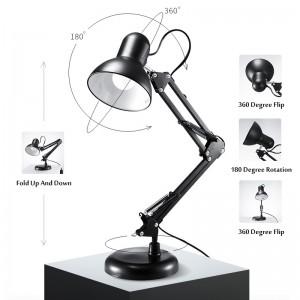 Настольная лампа на подставке, регулируемая, высота, поворотная, черная, desk lamp, DL-600