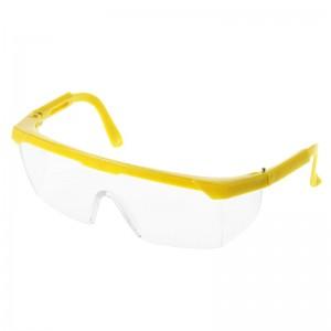 Защитные очки, прозрачные, желтая оправа, регулируемая дужка, защита глаз