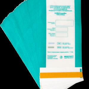 Крафт пакеты 100х200, Медтест, Питер, с индикатором, прозрачный, упаковка, 100 шт, для стерилизации