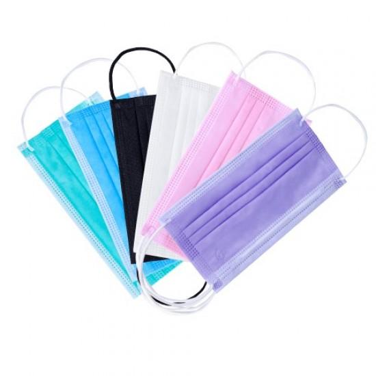 Маски на лицо, 50 шт в упаковке, трехслойная, защитная, голубой, белый, розовый, мятный, черный, одноразовая, 3055-DP-03, Расходные материалы,  Все для маникюра,Расходные материалы ,  купить в Украине