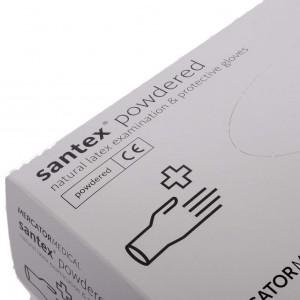 Латексные рукавицы с пудрой, легкотекстурованные, длина 240 мм.  медицинских и хозяйственных работ, santex powdered, M