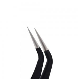 Изогнутый пинцет для наращивания ресниц, для страз, чёрный  Lidan H-15