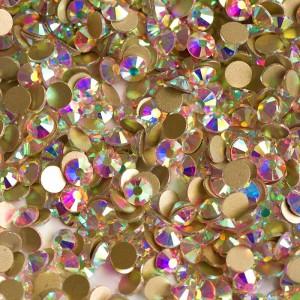 Стразы для ногтей AB Crystal Gold SS3 на золотой основе, блестящие камни, Flatback, no hotfix, клеевые