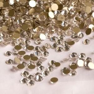Стразы для ногтей AB Crystal Gold SS4 на золотой основе, блестящие камни, Swarovski, клеевые