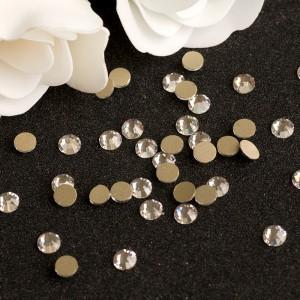 Стразы для ногтей AB Crystal на золотой основе, SS5,  блестящие камни, Flatback, no hotfix, клеевые, Gold