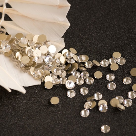 Rhinestones for nails AB Crystal Gold SS3 on a gold bottom, shiny stones, Flatback, no hotfix, glue, 3699-NND-50, Nail stag,  All for a manicure,Decor and nail design ,  buy with worldwide shipping