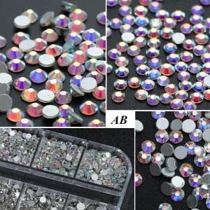 Стразы для ногтей AB Crystal Silver SS3, хамилион, люкс, блеск, камни, декор, сваровски, Brilliant , Бриллиант, кристалл, серебро, стекло, no hot fix, клеевые