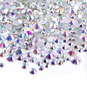 Стразы для ногтей AB Crystal MIX, SS3-SS8, хамилион, люкс, блеск, камни, декор, сваровски, Brilliant , Бриллиант, кристалл, серебро, стекло, no hot fix, клеевые