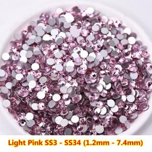 Стразы для ногтей Light Pink Crystal Mix, SS3-SS8, камни, декор, розовый, стекло, no hot fix, клеевые, микс
