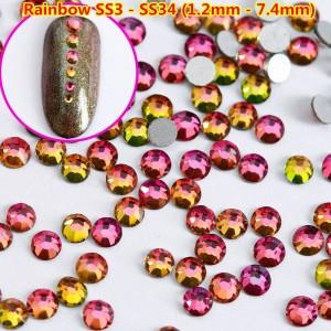 Swarovski Crystals Rainbow, Fire, Apple, камень, кристалл, радужная, плоская задняя стенка, для дизайна ногтей, SS3