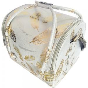 Маникюрный чемодан из экокожи 25*30*24 см светлый с золотыми перьями ,MAS1150