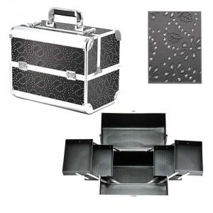 Чемодан-кейс алюминиевый 740 (черный/камни цветок)