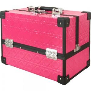 Маникюрный жесткий чемодан 30*20*22 см РЕЛЬЕФНЫЙ РОЗОВЫЙ ,MIS1500