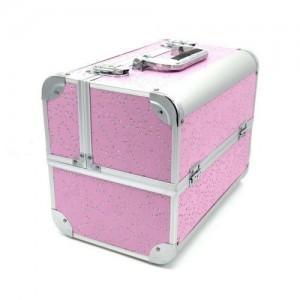 Чемодан-кейс алюминиевый 740 (розовый/камни цветок)