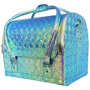 Маникюрный чемодан из экокожи 25*30*24 см ГОЛУБОЙ ХАМЕЛЕОН ,MAS1150
