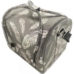 Маникюрный чемодан из экокожи 25*30*24 см темный с серебряными перьями ,MAS1150