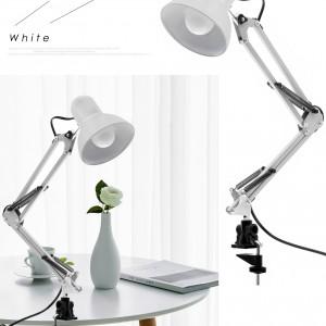 Настольная лампа на струбцине, с клипсой, с креплением, на стол, полку, для маникюра, для чтения, в офис, в салон карсоты, белая