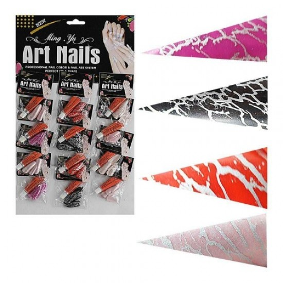 Nails on a sheet of 12pcs colored (glue in a set), 58605, Nails,  Health and beauty. All for beauty salons,All for a manicure ,Nails, buy with worldwide shipping