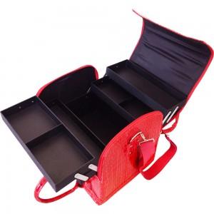 Маникюрный чемодан из экокожи 25*30*24 см КРАСНЫЙ КРОКОДИЛ ,MIS1500