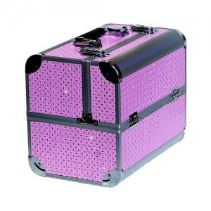 Чемодан-кейс алюминиевый 740 (розовый/овальные камни)