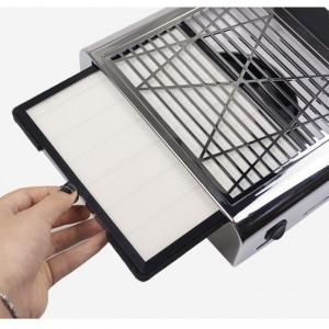 Вытяжка настольная для маникюра с  сменным Hepa фильтром 858-8 Серебро