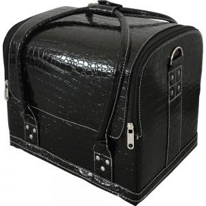 Маникюрный чемодан из экокожи 25*30*24 см мягкий ЧЕРНЫЙ КРОКОДИЛ ,MIS1500