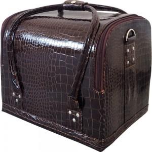 Маникюрный чемодан из экокожи 25*30*24 см мягкий КОРИЧНЕВЫЙ КРОКОДИЛ ,MIS1500