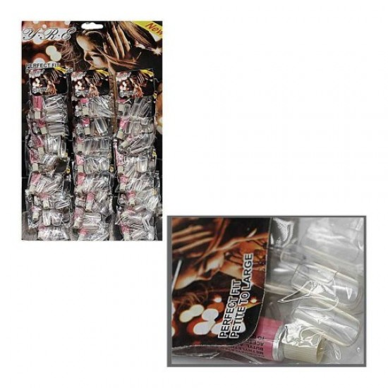 Nails on a sheet of 24pcs matte/transparent (glue in a set), 58583, Nails,  Health and beauty. All for beauty salons,All for a manicure ,Nails, buy with worldwide shipping