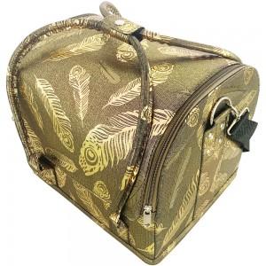 Маникюрный чемодан из экокожи 25*30*24 см темный с золотыми перьями ,MAS1150