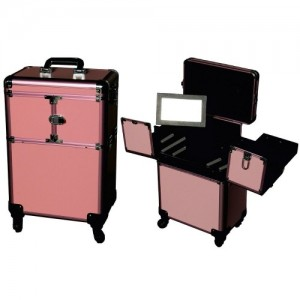 Чемодан 3551-3552 на колесах с зеркалом (розовый)