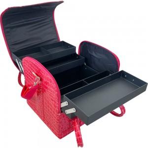 Маникюрный чемодан из экокожи 25*30*24 см РОЗОВЫЙ КРОКОДИЛ ,MIS1500