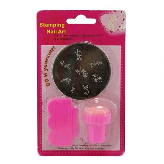 Stamping kit pink (print/scraper/stencil), 58664, Nails,  Health and beauty. All for beauty salons,All for a manicure ,Nails, buy with worldwide shipping