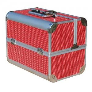 Чемодан-кейс алюминиевый 2629 (красный/камни)