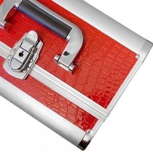 Металлический маникюрный чемодан 25*32*21 см КРАСНЫЙ КРОКОДИЛ ,KOD1500