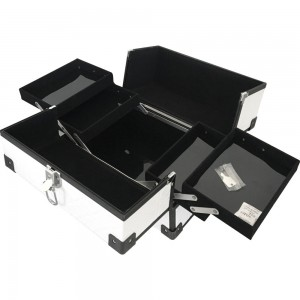Маникюрный жесткий чемодан 30*20*22 см РЕЛЬЕФНЫЙ БЕЛЫЙ ,MIS1500