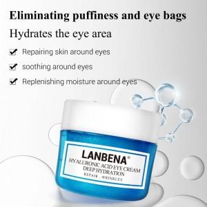 Антивозрастной крем для глаз Lanbena гиалуроновая кислота устраняет отечность мешки под глазами темный круги восстанавливающий успокаивающий