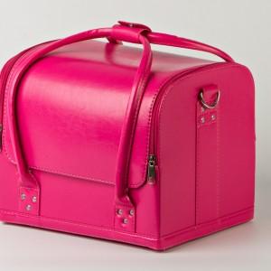 Кейс для косметики, розовый матовый. Кожаный кейс для косметики