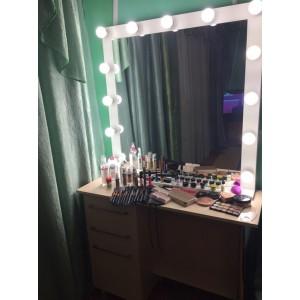Большое макияжное, гримерное зеркало с лампочками