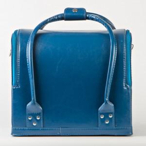 Кейс для косметики, синий матовый. Сумка визажиста - кожаная
