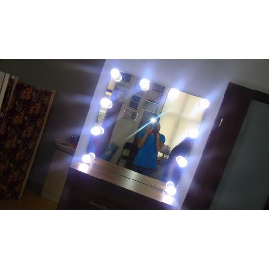 Зеркало с подсветкой, без рамы, для парикмахеров, MH80.80n10, Гримерные зеркала,  Зеркала,Гримерные зеркала ,  купить в Украине