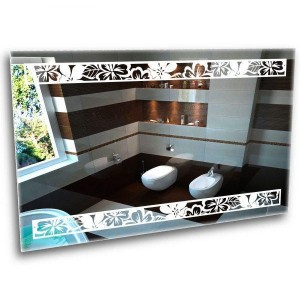 A mirror with an ornament. Ice mirror with backlight 650*900