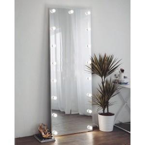 A full-length mirror with light bulbs.